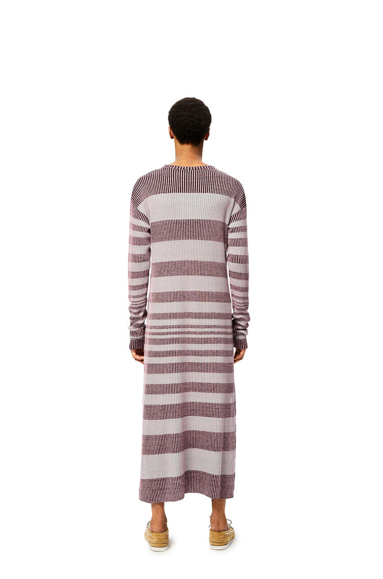 LOEWE Rib Knit Dress In Striped Linen Pink/Black pdp_rd