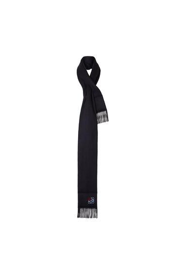 LOEWE 17 x 190 cm パッデッド アナグラム スカーフ(カシミヤ) ネイビーブルー pdp_rd