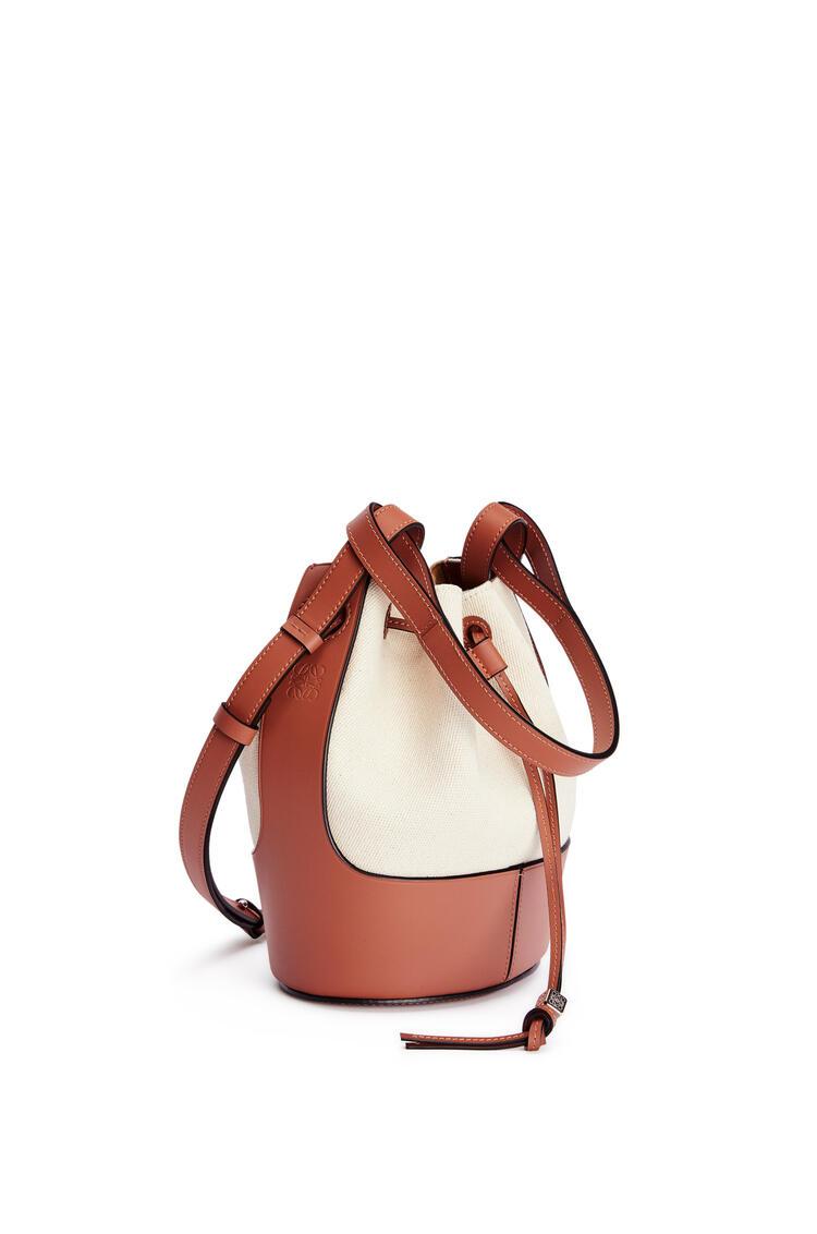 LOEWE Small Balloon bag in canvas and calfskin Ecru/Tan pdp_rd