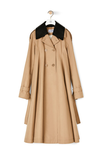 LOEWE Pleated Trench Coat Beige front