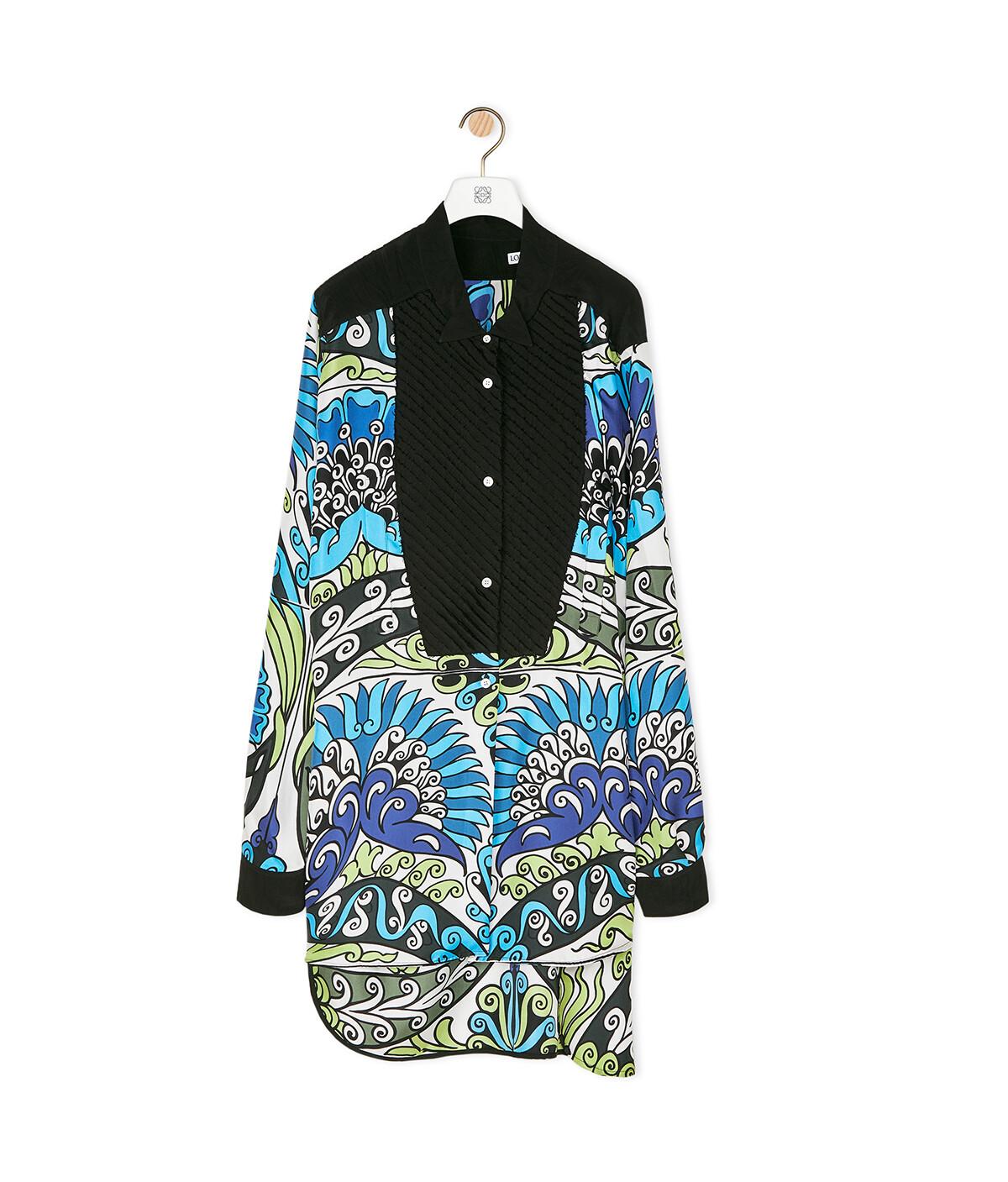 LOEWE Asymmetric Silk Print Shirt Flowers Blue/Green/Black front