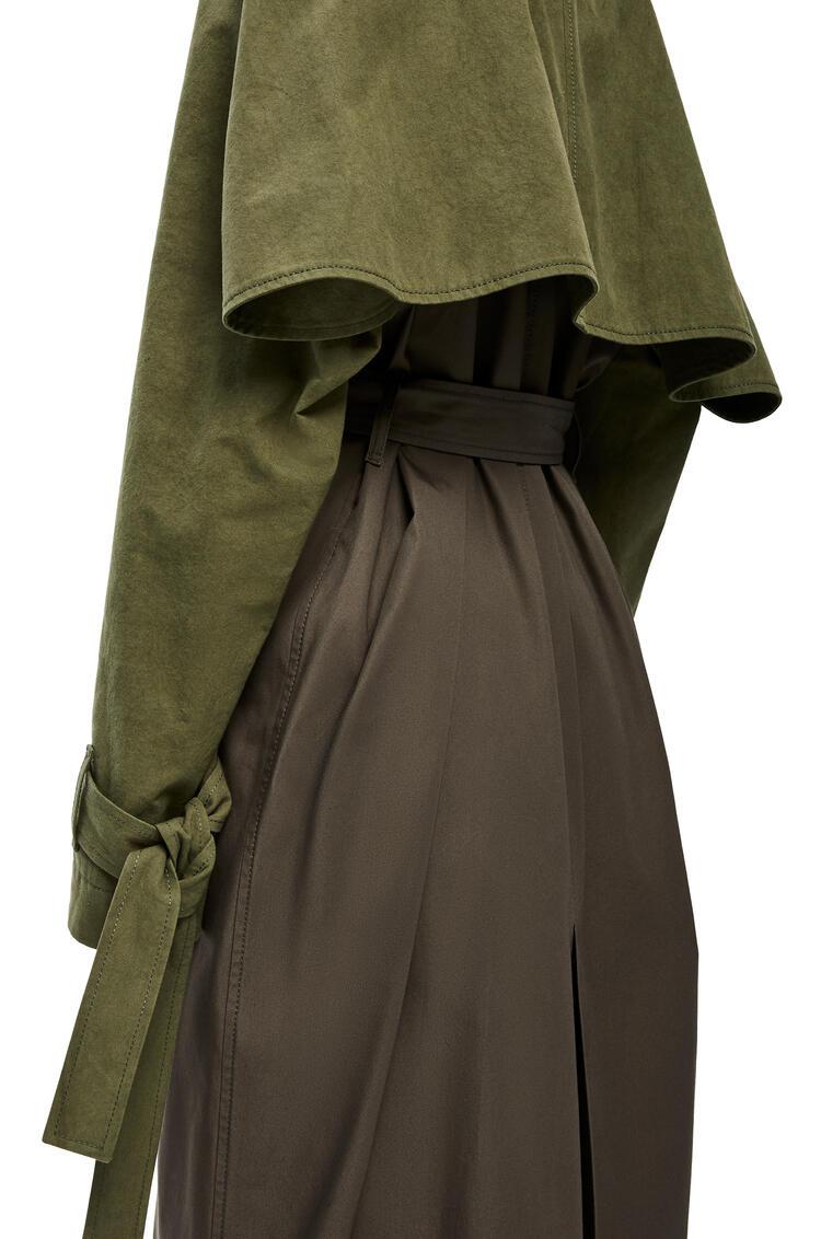 LOEWE Raglan Sleeve Coat In Cotton Khaki Green/Dark Khaki Green pdp_rd