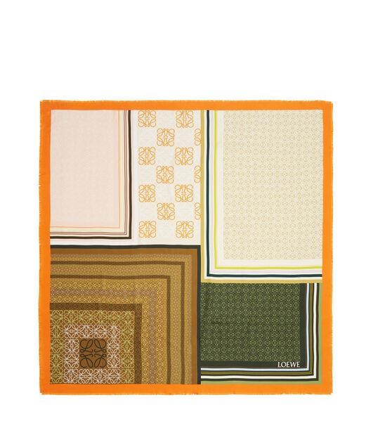 LOEWE 140X140 Scarf Print Patchwork 橙色 all