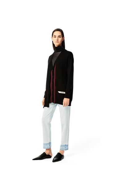 LOEWE LOEWE asymmetric pocket cardigan in wool Black/Burgundy pdp_rd