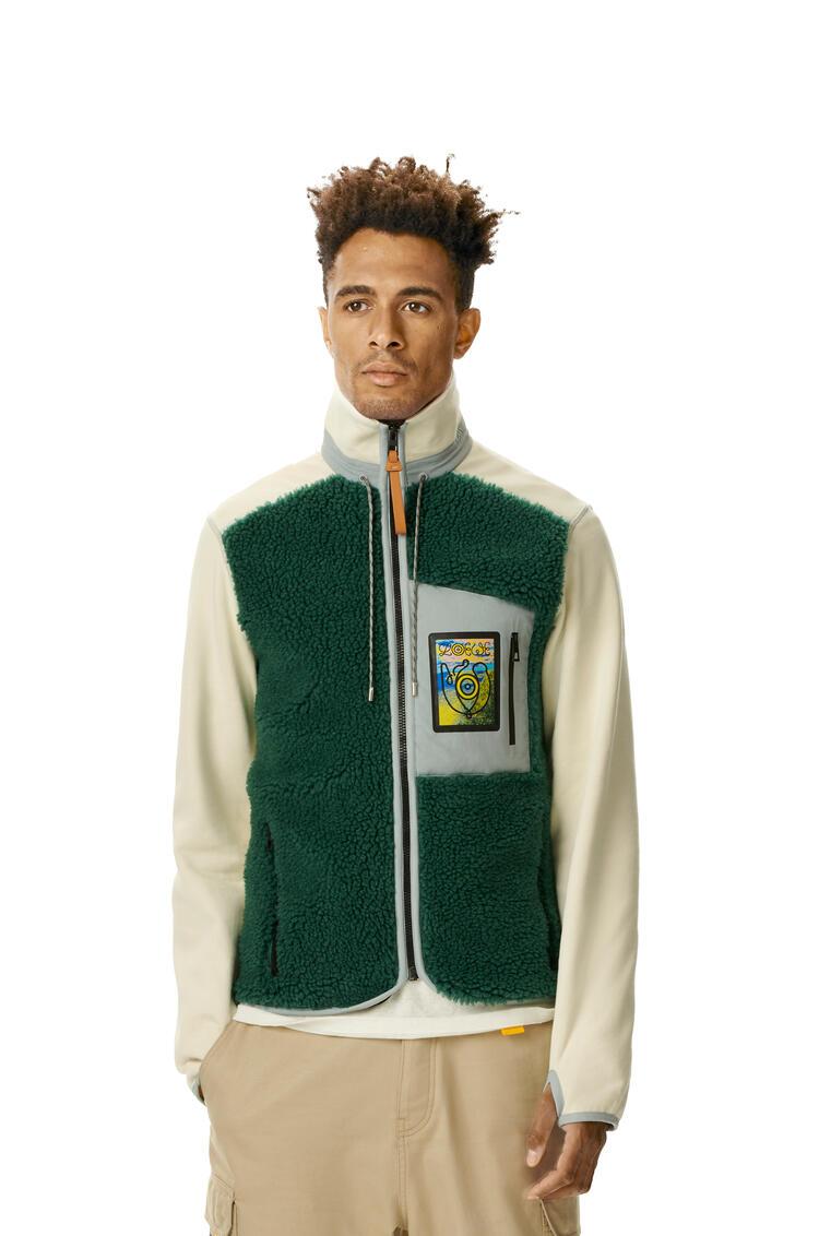 LOEWE Turtleneck Fleece Jacket Verde Bosque/Calico pdp_rd