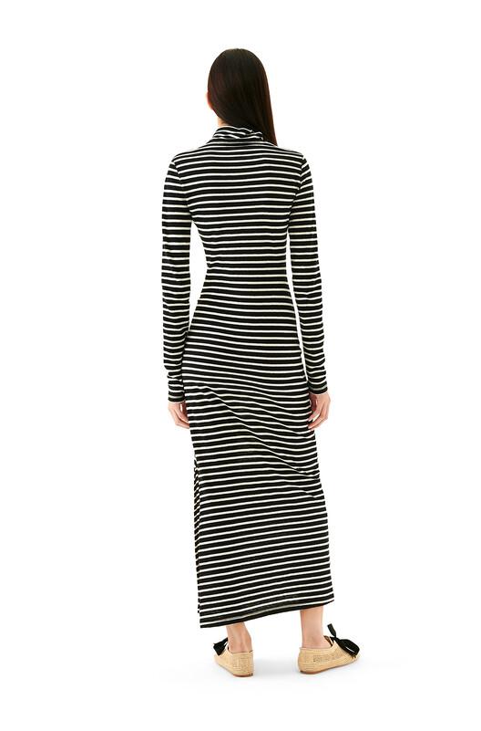 LOEWE Stripe High Neck Jersey Dress Ecru/Black front