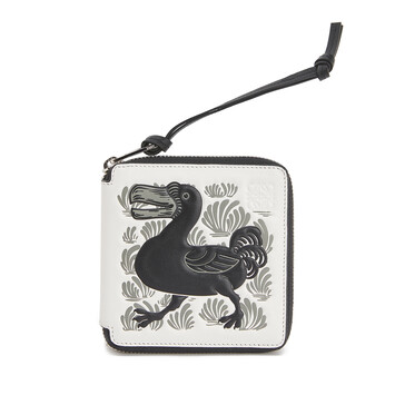LOEWE Square Zip Wallet Animals Soft White/Black front