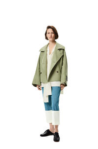 LOEWE Double breasted short jacket in wool and cashmere Sage pdp_rd