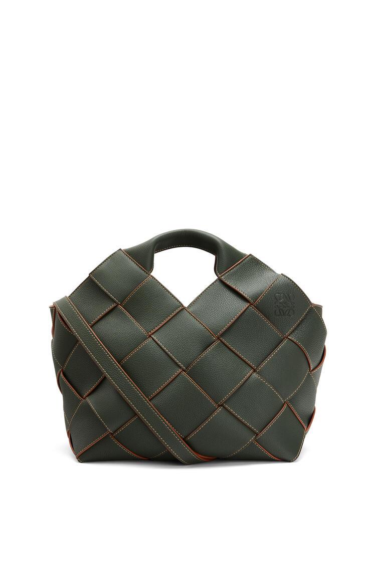LOEWE Woven basket bag in soft grained calfskin Vintage Khaki pdp_rd