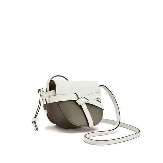 LOEWE Gate Colour Block Mini Bag Soft White/Khaki Green front