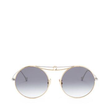 LOEWE Metal Knot Round Sunglasses Shiny Rhodium/Gradient Smoke front