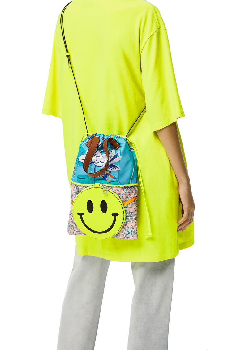 LOEWE Small Smiley Convertible Tote bag in nylon and calfskin Icy Pink/Aqua pdp_rd