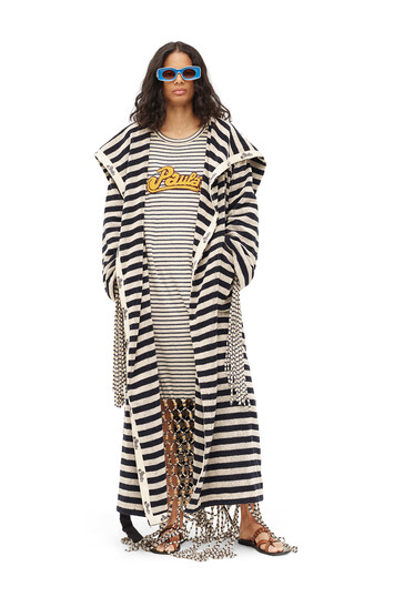 LOEWE Paula Stripe Towel Coat Navy/Off-White front