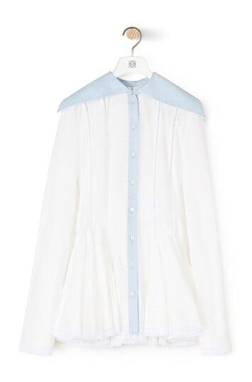 LOEWE ロング カラー ゴデット シャツ white/blue front