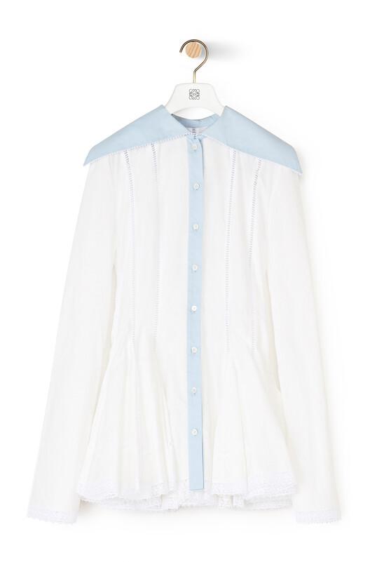 LOEWE Long Collar Godet Shirt Blanco/Azul front
