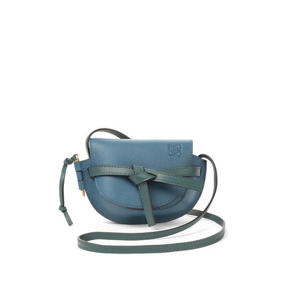 LOEWE ミニゲートバッグ Petroleum Blue/Cypress front