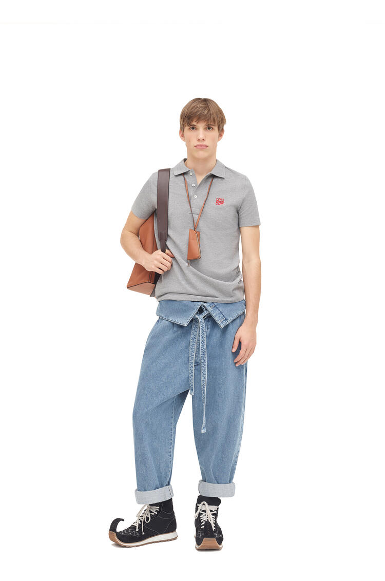 LOEWE Anagram Embroidered Polo In Cotton Grey pdp_rd