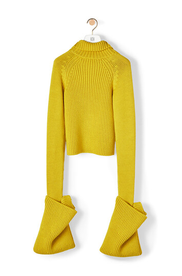 LOEWE Ov Cuff Tneck Sweater Acid Yellow front