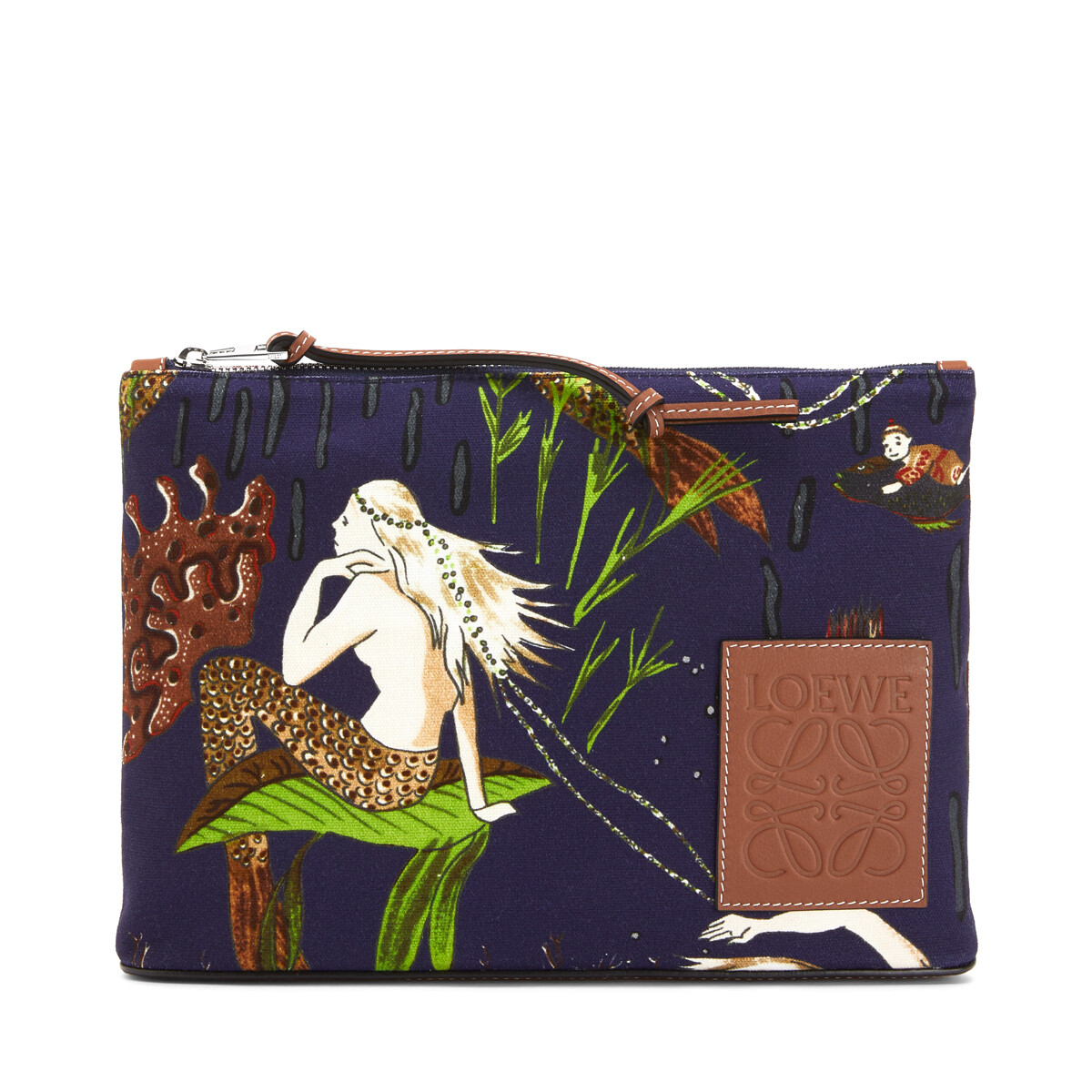 LOEWE Oblong Pouch In Mermaid Canvas And Calfskin Burgundy/Marine front
