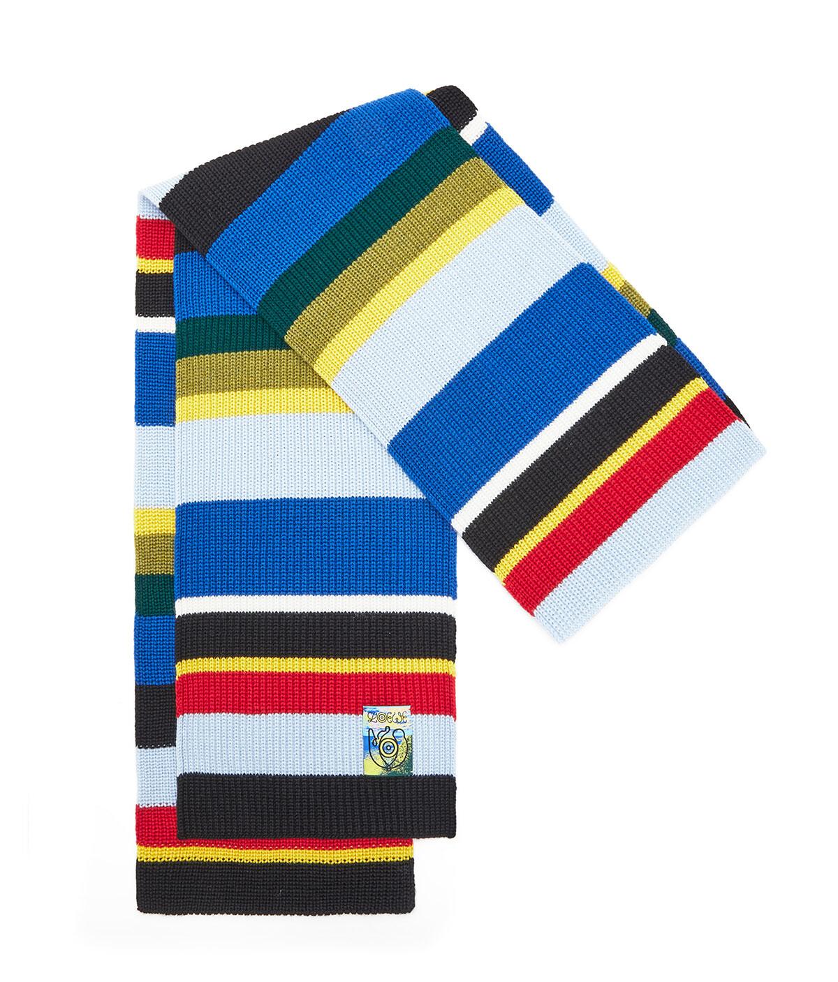 LOEWE Eln Stripe Knit Scarf 多色拼接 front