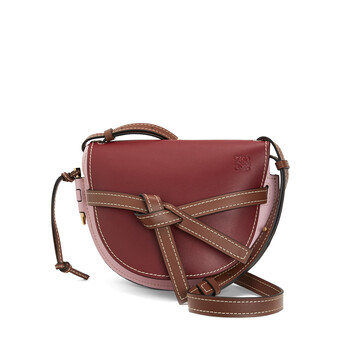 LOEWE Gate Small Bag Wine/Pastel Pink front