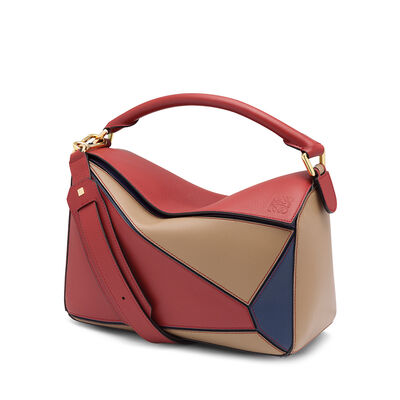LOEWE Puzzle Bag Brick Red/Almond front