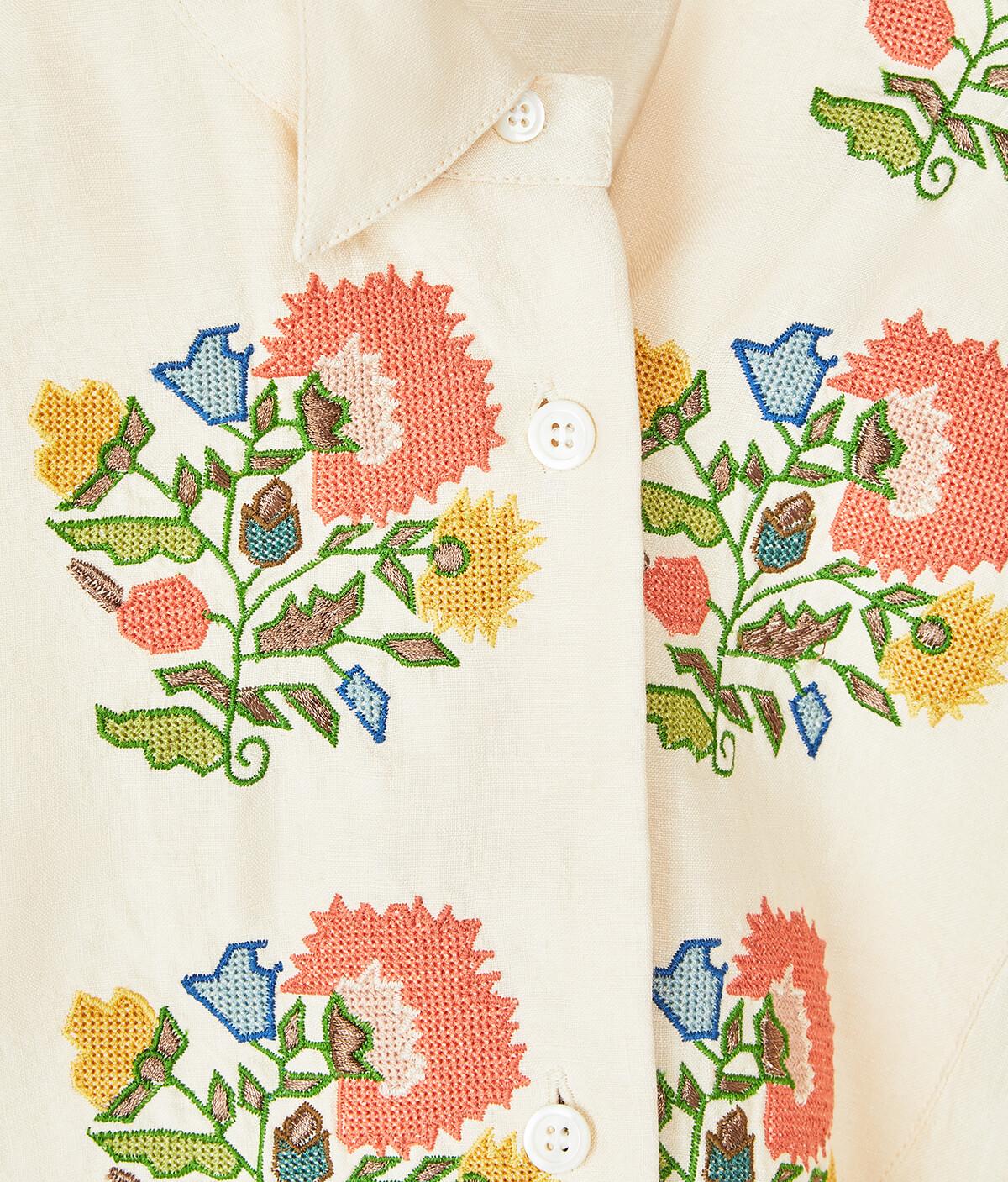 LOEWE Asymmetric Shirt Flower Emb Ecru front