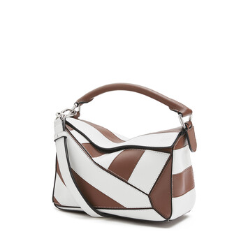 LOEWE Puzzle Rugby Small Bag Brunette/Soft White front