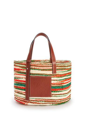 LOEWE Basket Bag In Sisal And Calfskin Natural/Red pdp_rd