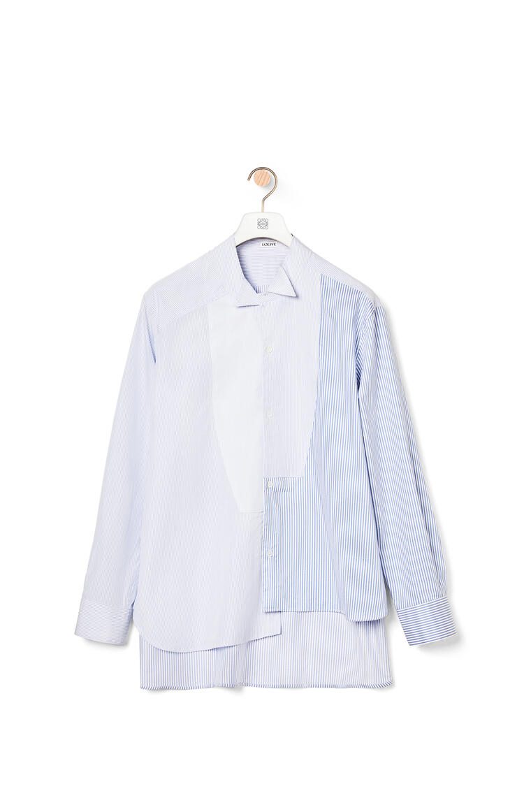 LOEWE Patchwork asymmetric shirt in cotton White/Blue pdp_rd