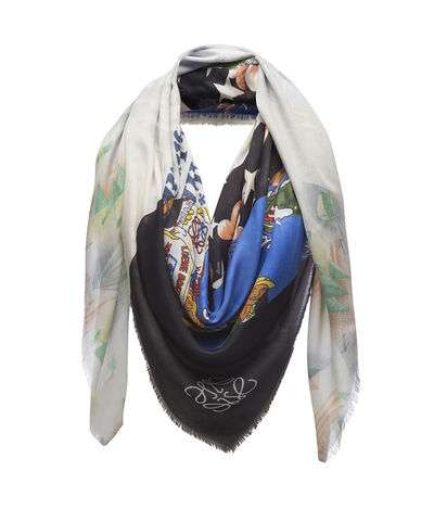 LOEWE 140X140 Scarf Patchwork All Multicolor/Black front
