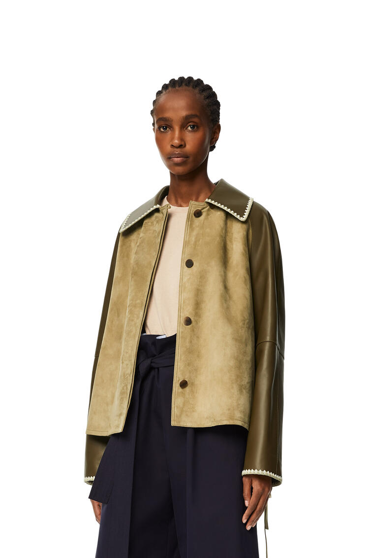 LOEWE Embroidered jacket in suede and nappa Khaki Green pdp_rd