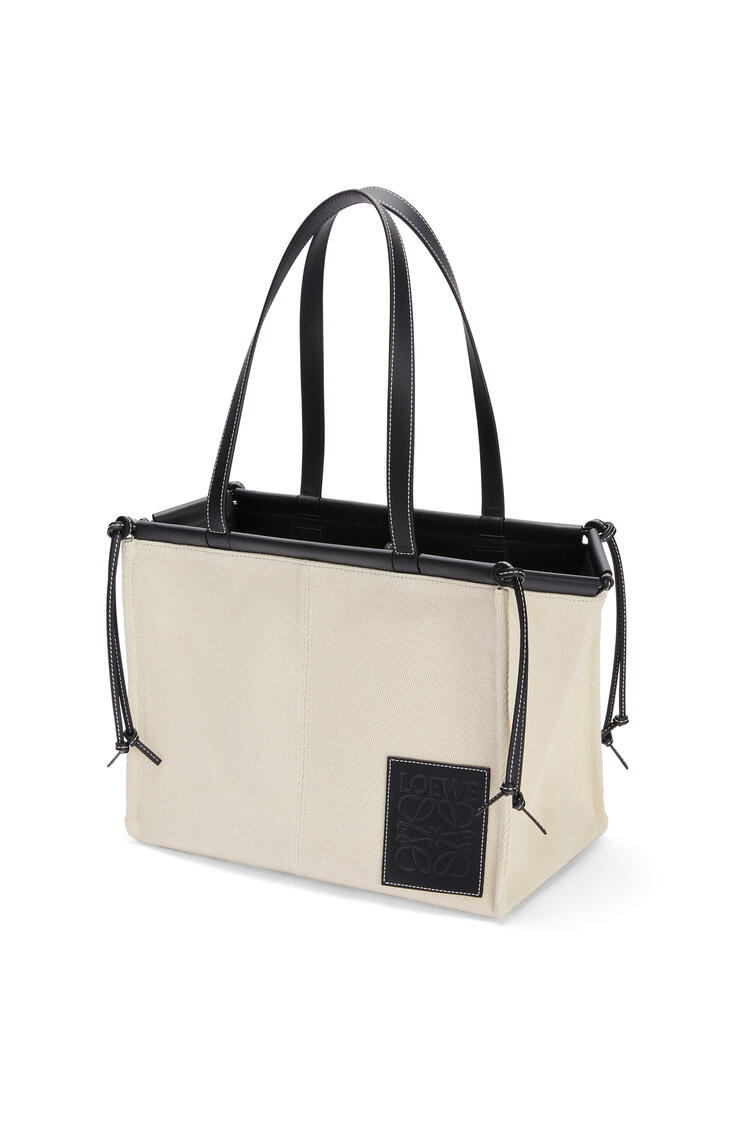 LOEWE Cushion tote bag in canvas and calfskin Light Oat/Black pdp_rd