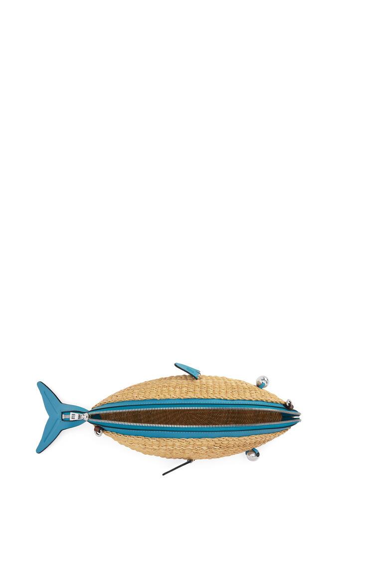 LOEWE Mini Fish bag in elephant grass and calfskin Natural/Dark Peacock Blue pdp_rd