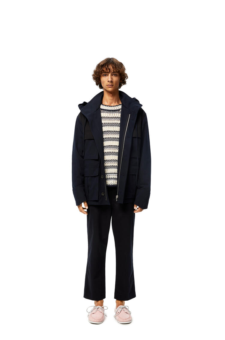 LOEWE Patch Pocket Hooded Parka In Cotton Navy Blue pdp_rd