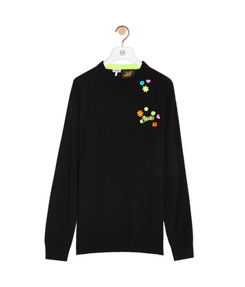 LOEWE Embroidered Crewneck Sweater In Wool And Polyester Black front