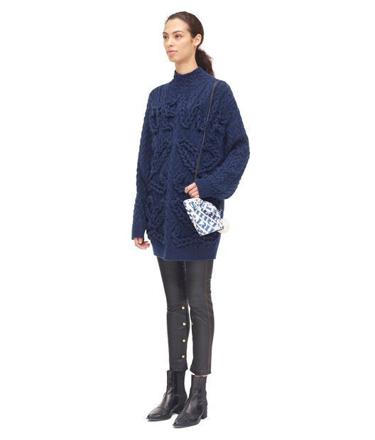 LOEWE Cable Knit Sweater Anagram Marino all