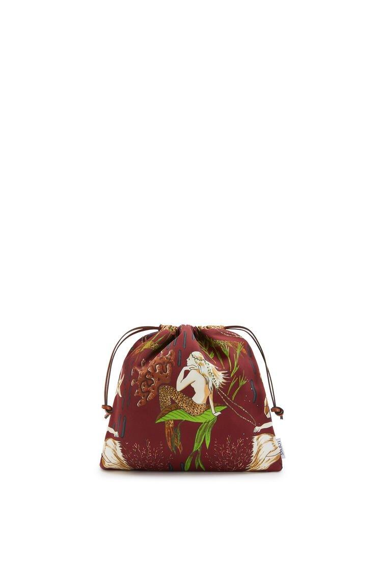 LOEWE Small Drawstring pouch in printed canvas Burgundy/Marine pdp_rd