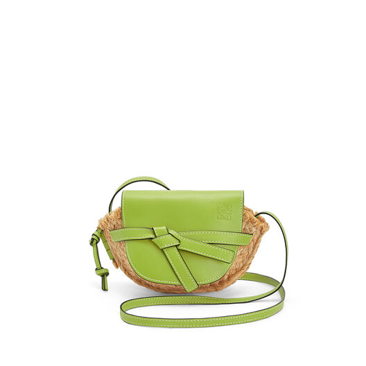 LOEWE Mini Gate Bag Green/Natural front