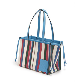 LOEWE Cushion Tote Stripes Sky Blue/Multicolor front
