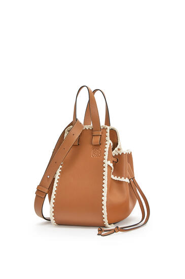 LOEWE Small Hammock Drawstring bag in knit and calfskin Tan pdp_rd