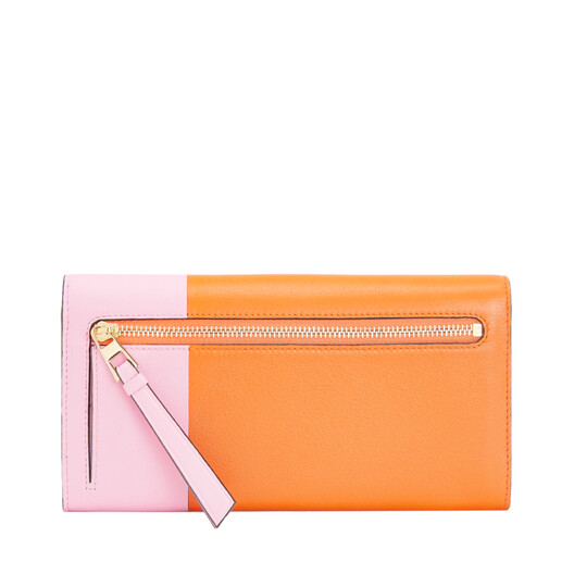 LOEWE Color Block Continental Wallet Orange/Candy front
