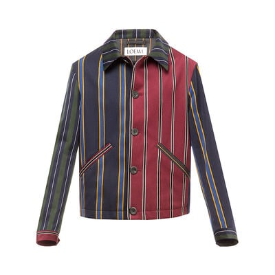LOEWE Patchwork Stripe Button Jacket Multicolor front