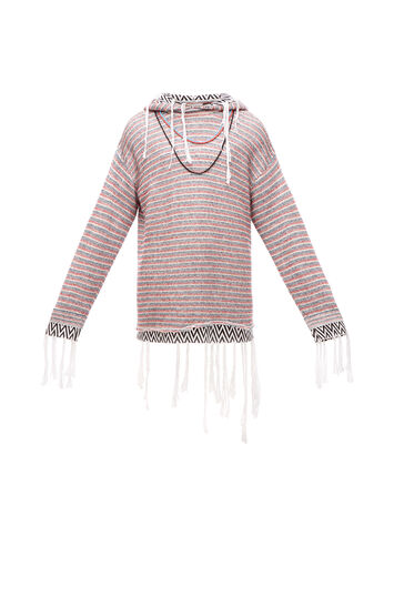 LOEWE Paula Stripe Hoodie Fringes White/Red/Navy front