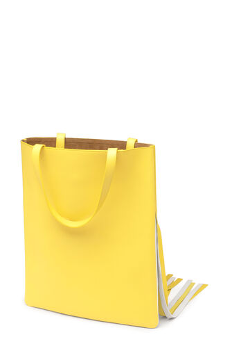 LOEWE Vertical Tote Grid Bag Yellow/White front