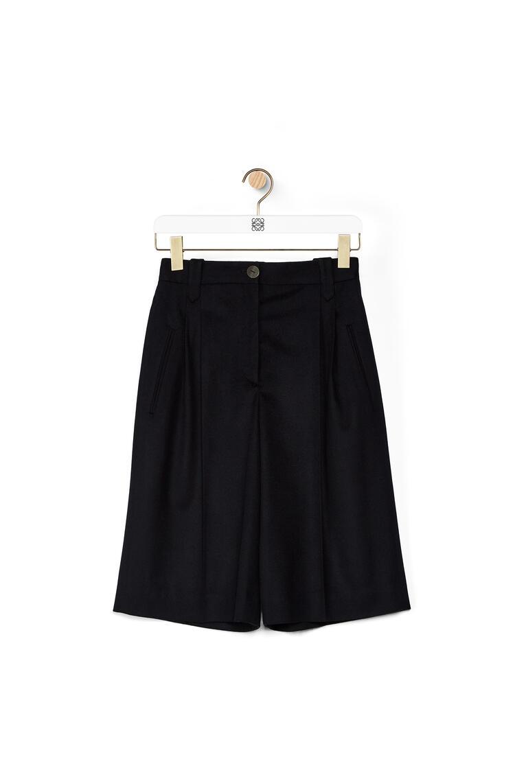 LOEWE Pleated shorts in wool Dark Navy Blue pdp_rd