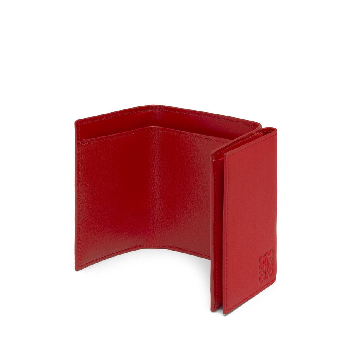 LOEWE Linen Trifold Wallet Scarlet Red front