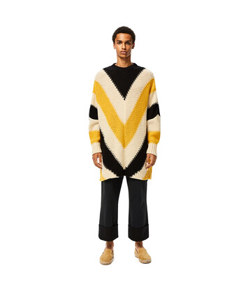 LOEWE Stripe Ov Crew Neck Sweater Amarillo/Negro front
