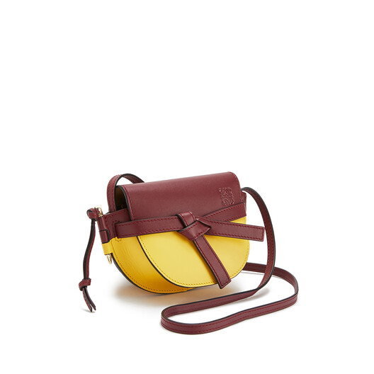 LOEWE Gate Colour Block Mini Bag Wine/Yellow front
