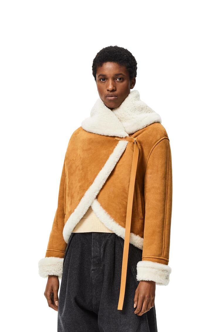 LOEWE Chaqueta de lana de oveja con cuello chal Blanco/Camel pdp_rd
